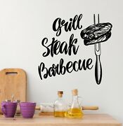 Products Vinyl Wall Decal Grill Steak House Barbecue Cooking Stickers G5429