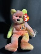 Ty Beanie Baby Peace Bear Perfect Condition Pvc Pellets One Owner