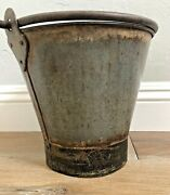 Vintage Antique Hand Made Rivets Iron Bucket Chippy Farmhouse W/ Handle 3