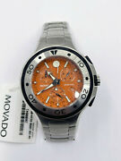 Movado Series 800 Chronograph Orange Dial Menand039s Watch 2600041 Sapphire Crystal