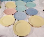 Set Of 10 Vintage Luray Pottery Dishes Saucers And Snack Plates