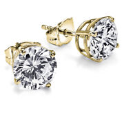 9000 Solitaire Diamond Earrings 2.01 Carat Ctw Yellow Gold Stud I3 51458288
