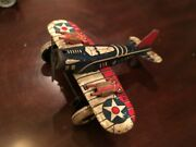 Marx Tin Wind Up Toy Airplane Us Army Red White And Blue