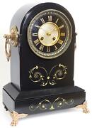 19th Century Vintage French Slate Mantel Clock Gilt Decoration Marble Brass Dial