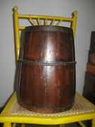 Signed Large Antique Chinese Wood Rice Barrel Bucket Cir 1890 With Metal Bands