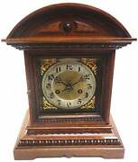 German Mantel Clock Antique 19th Century Carved Wood Roman Numerals By Junghans
