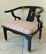 Antique/vtg Black Lacquer Chinese Horseshoe Lounge Chair James Mont Style Modern