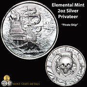 Elemental Mint Privateer 2oz Silver - Pirate Ship Pirate Skull Coin