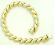 14k Yellow Gold Smooth And Matte Link San Marco Bracelet 8 9.3mm 21.1g M967