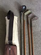 Antique Hickory Wood Golf Clubs-wilson Spalding Sargent Special W/canvas Bag