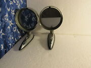 Side Mirrors Classic Car Part Pair Chrome Deco Style Atomic Yankee Metal