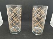 Georges Briard 2 Tumblers Drink Glasses Tan Weave Mid Century Modern Signed