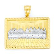 Large 10k Real Solid Gold Last Supper Pendant, Hip Hop Religious Jewelry For Men