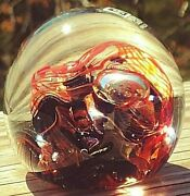 Lovely Mdina Glass Paperweight Orange Black Clear Swirls Bubbles Signed/numbered
