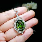 Luxury Diamond Royal Peridot Necklace - White Gold Coated Sterling Silver - 14