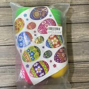 Large Plastic Easter Eggs With Stickers Multicolor Yellow Green Pink Set Of 12