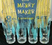 Federal Glass 8 Piece Merry Makers Black Turquoise Leaf Glasses W/original Box