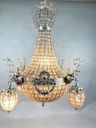 French Roccoco Chandelier Decorated With Deerhead In Silver Frame