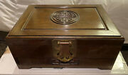 Vintage Antique Rose Or Walnut Wood Jewelry Box Chinese Carved Logo Brass