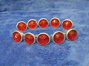 10 Vintage Red Reflectors 1 Round Jewel Domed Style Car Trucks Bikes Nos