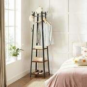 Coat Rack Coat Stand With 3 Shelves Hall Trees Free Standing With Hooks