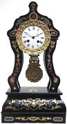 Ebony Boulle Inlaid Antique French Portico Design Mantel Clock Carved Bezel