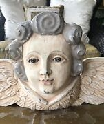 Antique/ Vintage Solid Carved Wooden Angel Head And Wings Statue Hanging Pediment