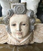Antique/ Vintage Solid Carved Wooden Angel Head And Wings, Statue Hanging Pediment