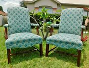 Pair Antique/vtg Solid Mahogany Wood Blue Upholstered Dining Accent Arm Chairs