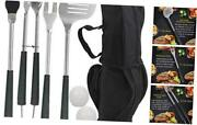 7pcs Golf-club Style Grilling Accessories Set With Rubber Handle - Black