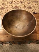 Antique Off Round Wooden Dough Bowl- Great Old Mends