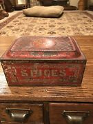 Antique Red Toleware Spice Box With Built In Grater