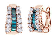 1.5 Ct Baguette Blue Natural And White Natural Diamond Hoop Earrings 14k Rose Gold