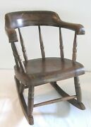 Antique Pa Primitive Country Childandrsquos Rocking Chair Brown Paint Yellow Striping