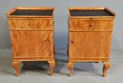 Pair Of Antique 1900-1920s German Biedermeier Style Flame Birch Nightstands