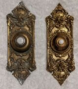 Vintage Pair Of Brass Doorbell Covers Victorian Filagree Solid Brass Patina