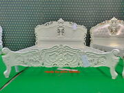 Bespoke King 5and039 Cream Ivory French Style Designer Rococo Bed ... Top Quality