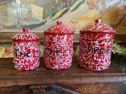 Vintage French Red And White Enamel Enamelware 3 Piece Kitchen Canisters Storage