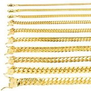 14k Yellow Gold Solid 2.7mm-11mm Miami Cuban Link Chain Pendant Necklace 18-30