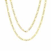 14k Yellow Gold Solid 6mm Diamond Cut White Pave Figaro Chain Necklace 20-30