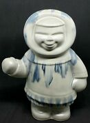 Vintage Collectible Huronia Pottery Inuit Eskimo Figurine Made In Canada