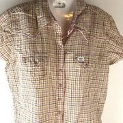 Womenand039s Sz M Wrangler 20x Pink Plaid Snap Button Blouse Short Sleeve Western