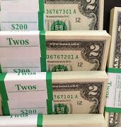 Lot Of 25-2 Bills Currencytwo Dollar Us Notes Crisp Money Uncirculated Rare