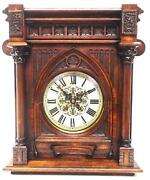 Antique Solid Oak Glazed Rare Hand Crafted German Mantel Clock By Lenzkirch