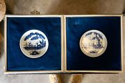 Antique Chinese Blue And White Porcelain Plates, With Corresponding Frames