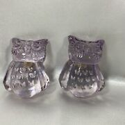 Clear Lavender Owl Cabinet Drawer Pulls Knobs Pottery Barn Kids Set Of 2 New