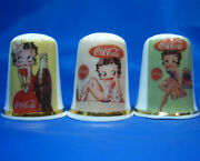 Birchcroft Thimbles -- Set Of Three -- Betty Boop And Coca Cola Posters