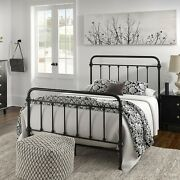 Full Size Bed Vintage Antique Iron Style Metal Headboard Footboard Frame Black