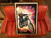 One-shot Bid 70 High Ryder Black Light Poster Art Scull Chopper Harley Vintage