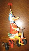 Antique Tin Litho Circus Duck On Tricycle Western Germany Nice Needs Repair